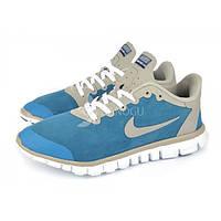 Кроссовки мужские синие Nike Free Run 3.0 на гибкой белой подошве, Синий, 46