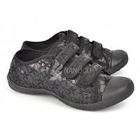 Кеды женские черные на липучках черные расшитые бисером Awayt, Черный, 40