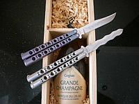 Нож туриста gw 1002о, складывается одной рукой, металлическая рукоять, клинок из стали 440с, балисонг бабочка