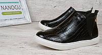 Ботинки слипоны женские черные на белой подошве с текстурой рептилии HKR Original, Черный, 37