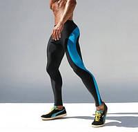 Мужские компрессионные штаны синяя полоса