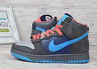 Кроссовки хайтопы кожаные прошитые Nike серые с синим и коралловым, Синий, 37
