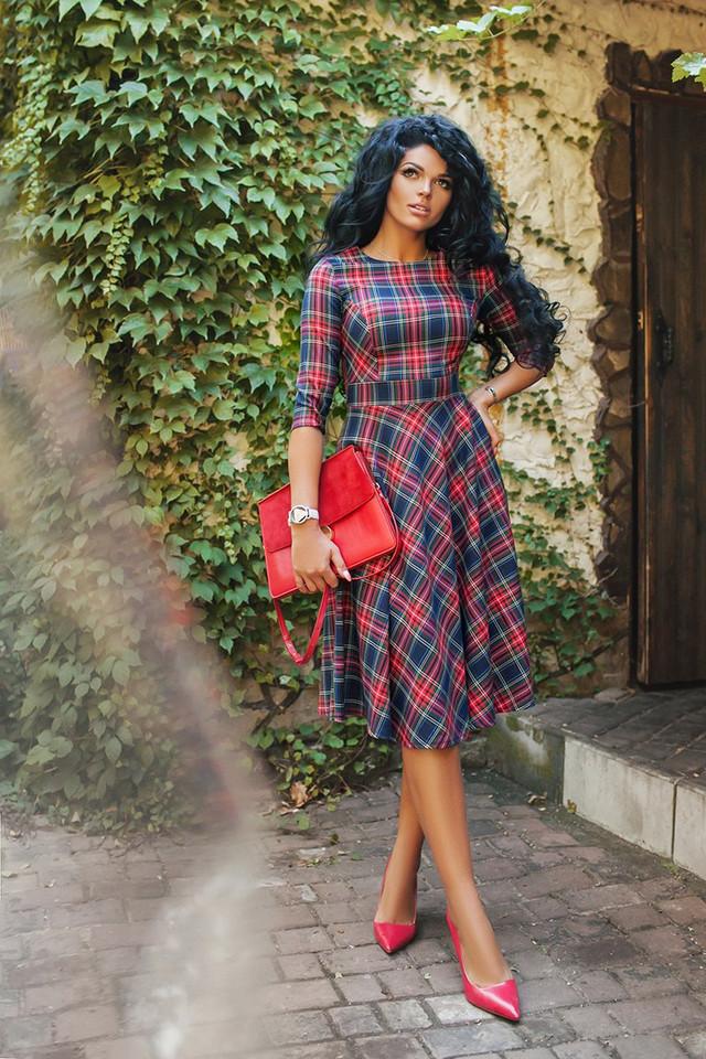 Купить расклешенное миди платье