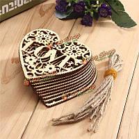10шт сердце любовь DIY дерева ремесло висит украшение судов подарок