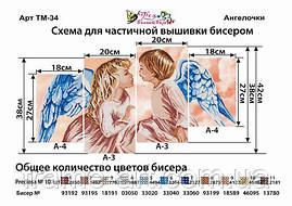 Фея Вишивки ТМ-34 Янголята. Триптих, схема під бісер