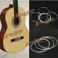 6шт серебро нити с нейлоновыми струнами калибровочные набор для классической акустической гитары