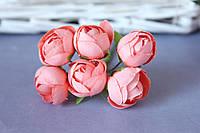 Ранункулюс на ножке бутон 2,5- 3 см на ножке розово-персикового цвета оптом