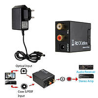 Цифровой оптический сигнал коаксиальный Toslink в аналоговый аудио конвертер адаптер RCA L / R