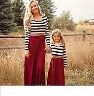 Комплект  платьев в пол  мама и дочка