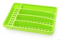 Лоток для хранения столовых приборов 32х22,5х4,5 см, цвет ЗЕЛЕНЫЙ (пластик)