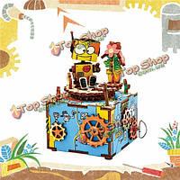 Robotime DIY 3D модель деревянная собрана намотка музыкальная шкатулка