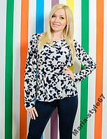 Блуза женская с баской. Размеры от 42 до 50