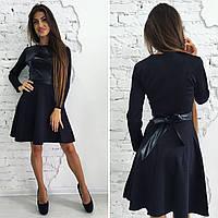 Черное платье с кожаной вставкой