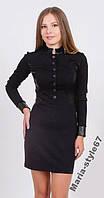 Платье женское с кожаными вставками. Размеры 42-50