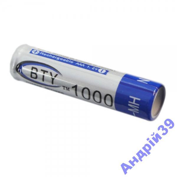 Батарейки аккумуляторные AAA BTY 1000 mAh