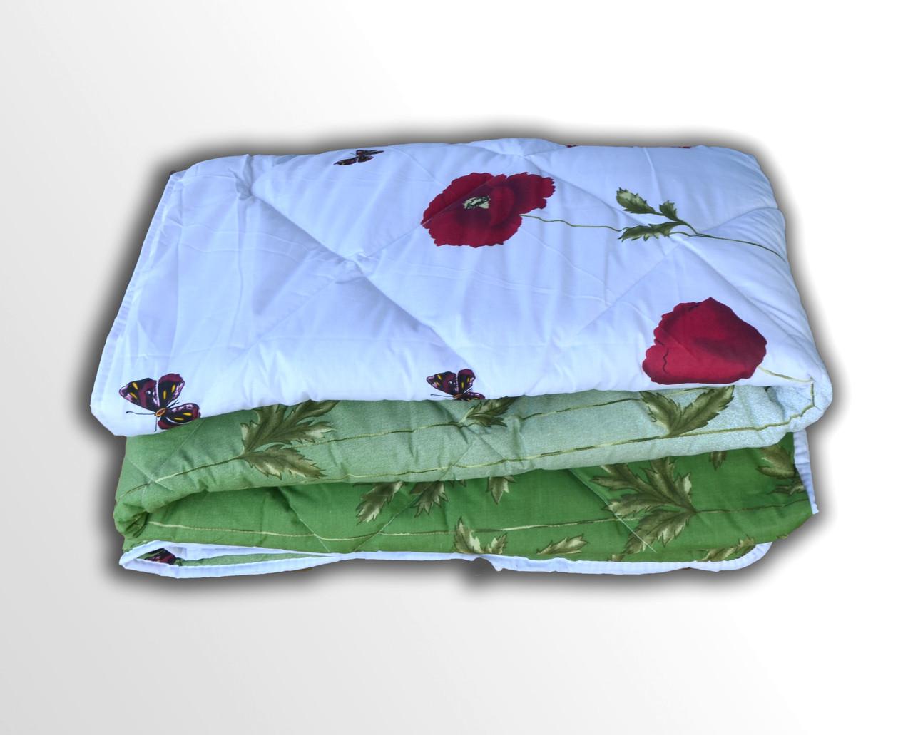 Одеяло Шерсть 533_210x150 Маки зеленые с бабочками