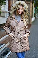 Модная женская зимняя куртка-парка с натуральным мехом енота,норма,Fashion Style
