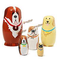 Российские деревянные матрешки собаки матрешка ручной росписью подарочные 5шт набор