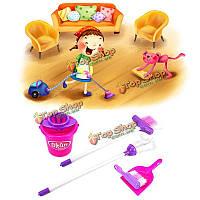 Кукла дом дети домашнее хозяйство комплект метла уборка шваброй ведра весело играть притвориться образовательные игрушки