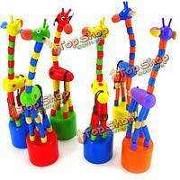 Жираф игрушки деревянные стоя ребенок ребенок красочные интеллектуальные подарки развития
