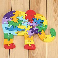 Деревянные цифры головоломки слон головоломки алфавита образовательные игрушки