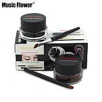 Гелевая подводка для глаз Music Flower, 2 цвета + кисточки!