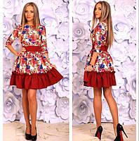 Платье в цветочный принт, юбка с оборкой