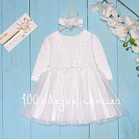 """Нарядное платье с повязкой  """"Кружево"""" бел (649) 80"""