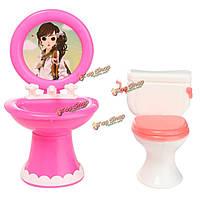 Кукольная мебель для ванной комнаты умывальник + унитаз