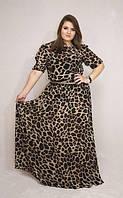Длинное леопардовое шифоновое платье в пол
