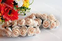 Розы из латекса цвет айвори на стебле диаметр 2-2.5 см упаковка 12 штук