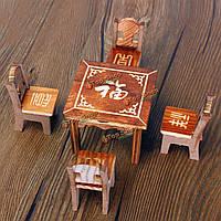 Кукольный домик миниатюрный мебель деревянный стол мини-столовая и 4 стулья игрушка