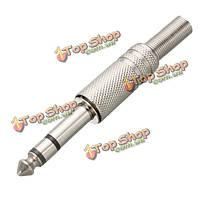 6.35мм 1/4-дюйма 3-контактный разъем сброса металла стерео штекер напряжение с паяльной конца