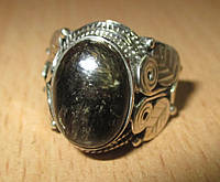 Серебряный перстень  с золотистым серафинитом  , размер 18, фото 1