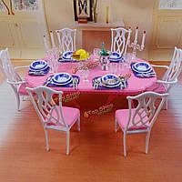 Набор кукольный стол обеденный стул посуда столом мебель игрушки для куклы Барби