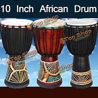 10-дюймов африканский барабан руки из красного дерева тело музыкальный инструмент