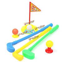 Набор из пластика 3 гольф клюшки клуба 2 шары 2 положить чашки 2 флага 2 тройники малышей игрушки