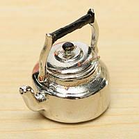 Масштаб 1:12 металла серебра кукольный мини-кухонная утварь чайник воды украшения