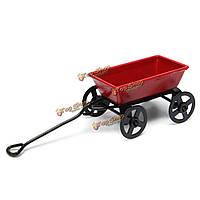 Кукольный металла миниатюрный игрушка красный маленький потянув тележка садовая мебель Accessorie