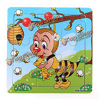 9шт DIY из дерева пчела головоломки головоломки детские обучения дети игрушки