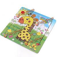 9шт DIY из дерева жираф головоломка головоломки детские обучения дети игрушки