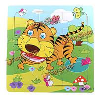 9шт DIY из дерева тигр головоломка головоломки детские обучения дети игрушки