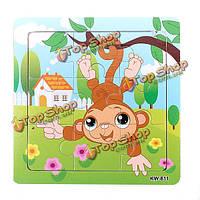 9шт DIY из дерева обезьяна головоломки головоломки детские обучения дети игрушки