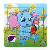 9шт DIY из дерева слон головоломка головоломки детские обучения дети игрушки