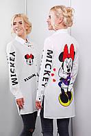 Женская удлиненная рубашка из креп-шифон Mickey and Minnie