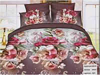 """Комплект постельного белья двуспальный 3D сатин """"Цветы на коричневом"""""""
