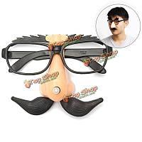 Забавные пластмассовые очки клоуна усов носа hallowmas партийная поставка