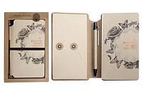"""Блокнот NP(48К)-G-01 """"Ретро стиль"""" в подарочной упаковке с ручкой, на резинке (120 листов, 10.5*17.5 см.)"""