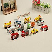 Подвижные деревянные транспортные средства ряд 12 милых деревянных мини-car2 образовательных игрушек