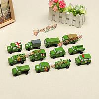 Подвижные деревянные транспортные средства ряд 12 милых деревянных мини-военных транспортных средств образовательная игрушка